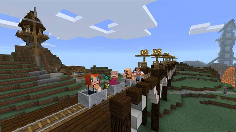 Minecraft characters riding a built train