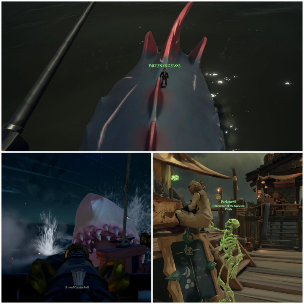 a gamer riding megs in Sea of Thieves