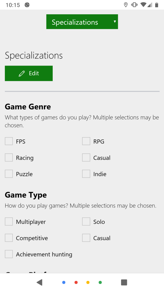 Specializations - Mobile