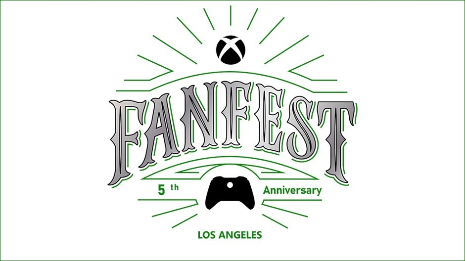 """Xbox FanFest logo on a white background, featuring the text """"5th anniversary"""" and """"Los Angeles""""."""