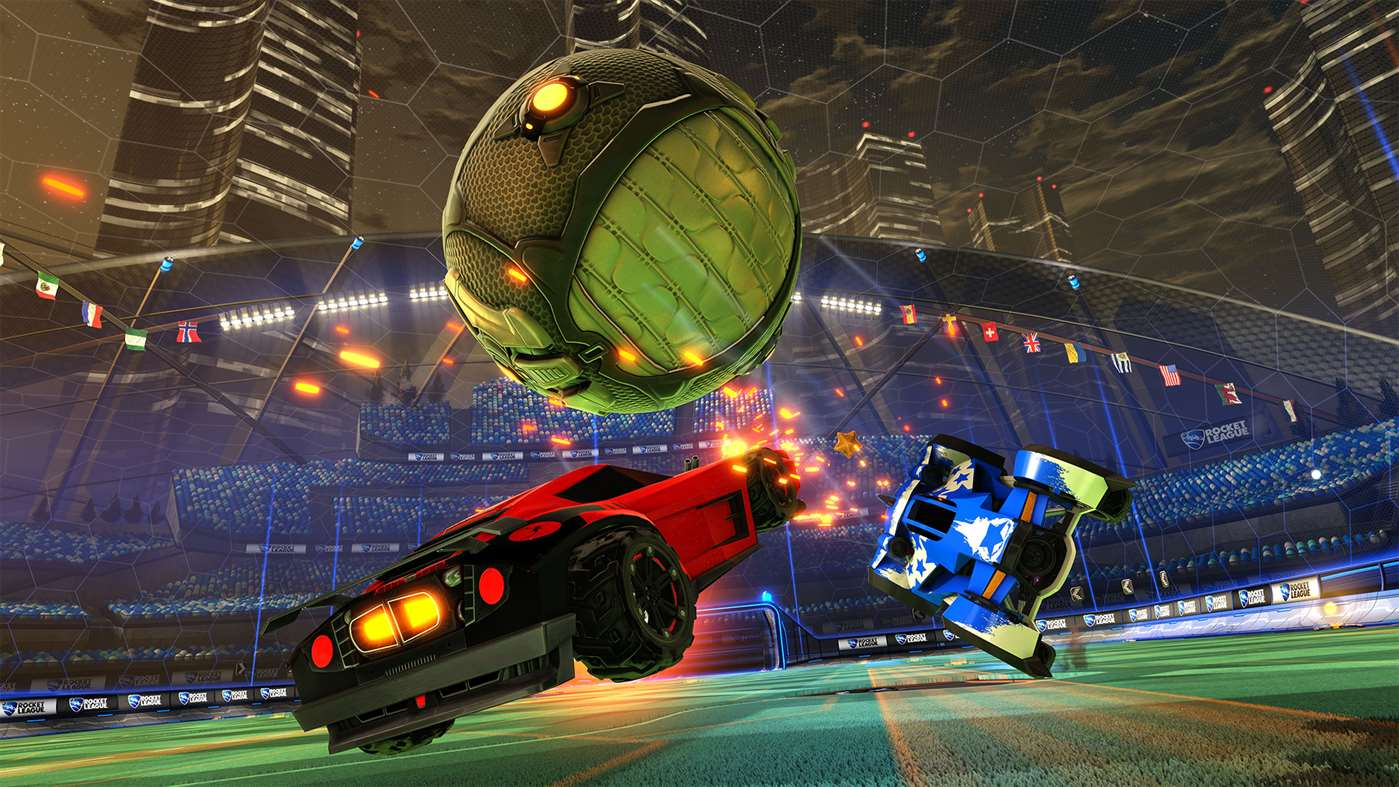 Two cars fly around after a giant ball