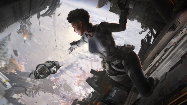 Bangalore holds onto a spaceship with one hand as she reaches out her other hand to her falling comrade. The character falling reaches their hand towards her as they fall. Below, there is a long drop down to some metallic wreckage, and fire and smoke trail through the sky.
