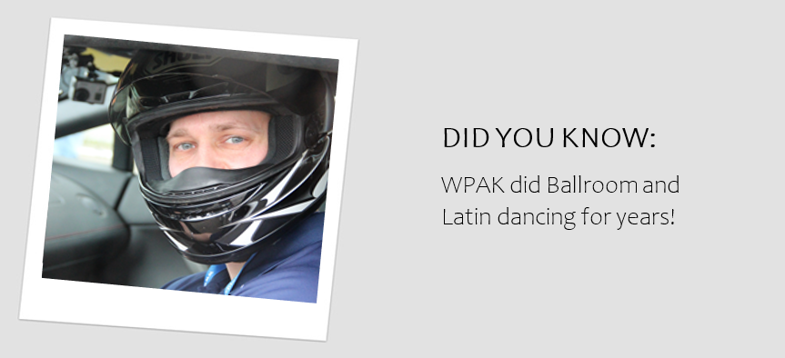 "Headshot of WPAK wearing a motorcycle helmet with the caption ""WPAK did Ballroom and Latin dancing for years!"""
