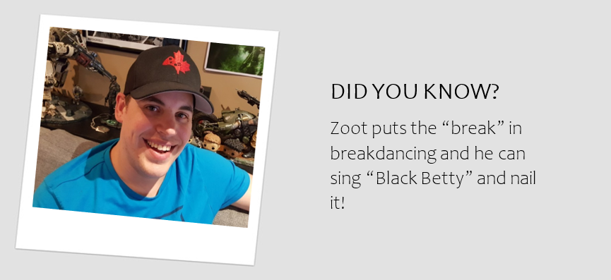 "A headshot of Northern Zoot and the caption ""Zoot puts the 'break' in breakdancing and he can sing 'BlackBetty' and nail it!"""