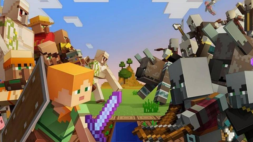 minecraft characters battling in a line up. Warriors in two rows facing eachother, swords raised and bows aimed.