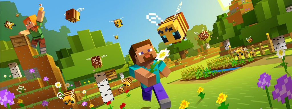 Minecraft Steve chasing bees