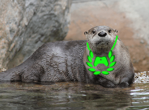 otter with an xbox ambassador pendent photoshopped on....poorly