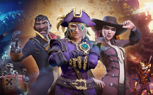 3 pirates standing together in various outfits, the male pirate has a hooked hand, the center pirate is in captains garb that is the color purple, she looks fierce, and the final pirate is wearing a multi button trenchcoat with a wide brimmed hat reminiscent of a fedora or musketeer hat....she also looks fierce.