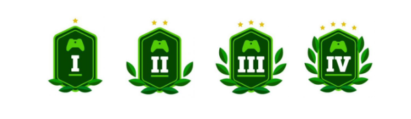 Xbox Ambassador Level Icons, each shown individually from level 1 to level 4. The numbers, stars, and laurels all increasing as the badges increase to larger numbers.