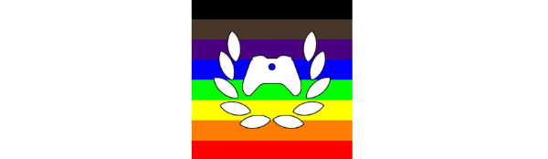The Xbox Ambassador logo in front of the LGTBQIA+ Flag, and includes the black and brown stripes. These symbolize Black and Brown people.