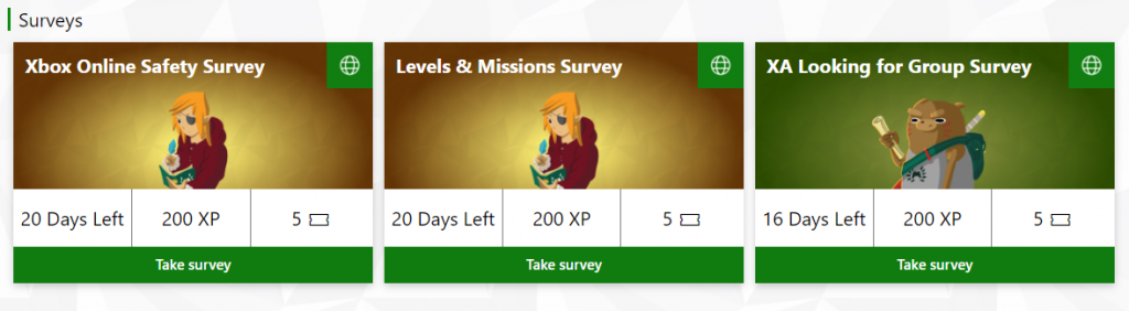 Three Xbox Ambassador images providing an example of what the survey missions look like. Each one lists the days it has left to be completed, the XP received for completing it, and the sweepstakes tickets it awards.