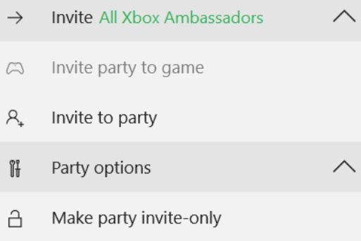 Snip of party function on Xbox