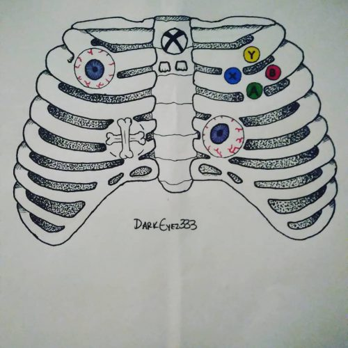 Drawing of an Xbox controller made of bones and has eyeballs for joysticks.