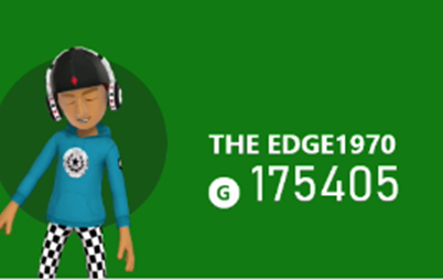 The Edge1970's Xbox avatar in a blue shirt and checkered pants with a gamerscore of 175405