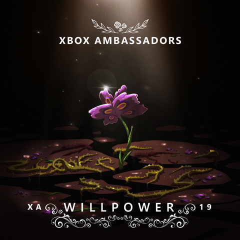 a purple flower and the words Xbox Ambassadors and Willpower