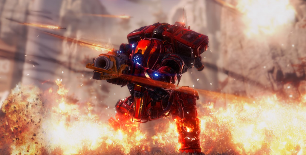 A red and orange titan stands ready, surrounded in flames and incoming rockets.