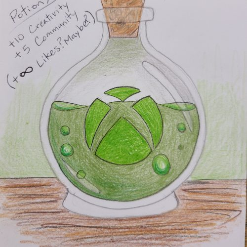 A clear bottle of green potion with the Xbox logo on it. Potion X gives +10 creativity, +5 community, +infinity likes maybe