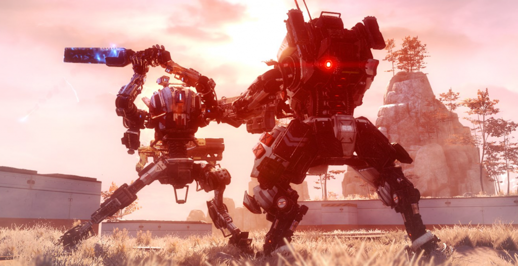 Two titans do battle in a grassy field, with one titan raising an electrified sword to strike the other.
