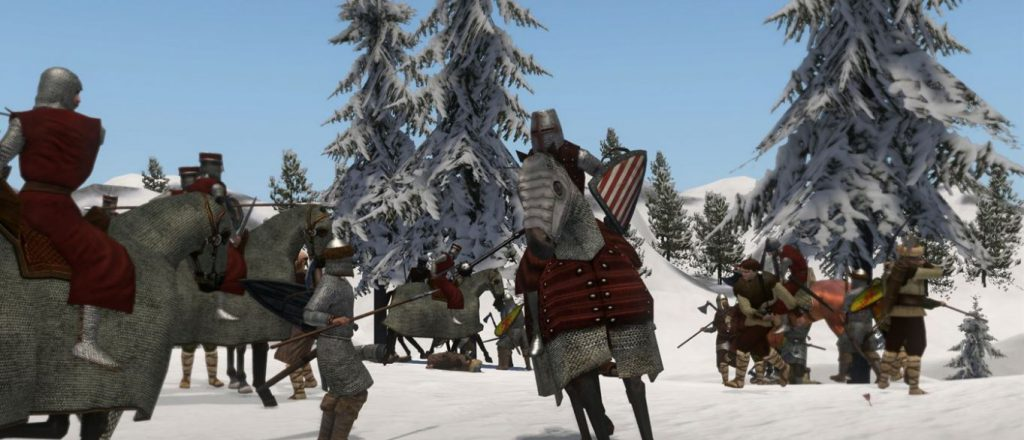 A snowy battlefield, with soldiers and knights in medieval armor battling with medieval weapons