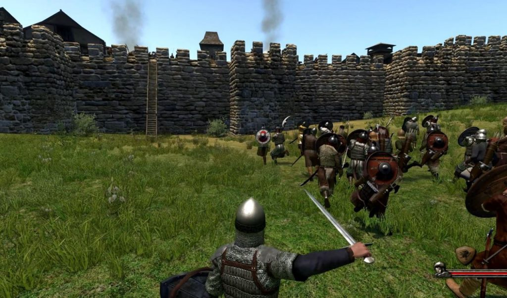 A soldier in chain mail holds up a sword as more medieval warriors advance on the walls of a castle