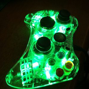 Green glowing Xbox controller