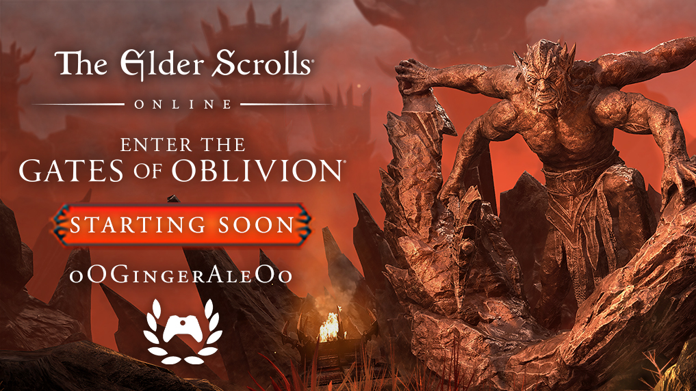 Giant stone monster with four arms climbs over a mountain to the right.  Left has text reading: The oldest rolls online.  Enter the gates of oblivion.  Starting soon - highlighted in red - oO Gingerale Oo with the ambassador logo under her name.